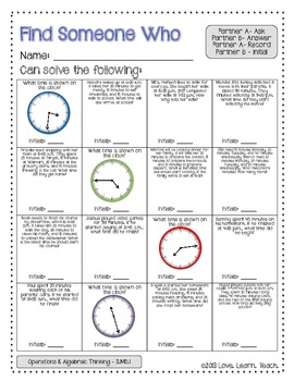 Tell Time to the Minute and Elapsed Time Review | Find a Friend