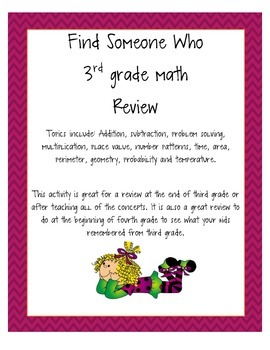 Find Someone Who... 3rd grade math review