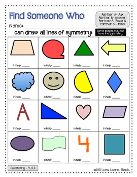 Symmetry Practice and Review for 4th Grade | Find a Friend