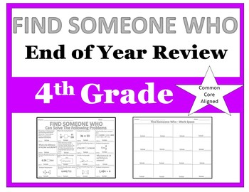 Find Someone Who - 4th Grade End of Year Review