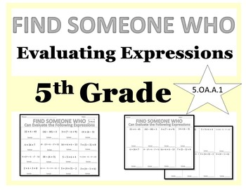 Find Someone Who - 5th Grade Evaluating Expressions (5.OA.A.1)