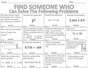 Find Someone Who - 6th Grade End of Year Review