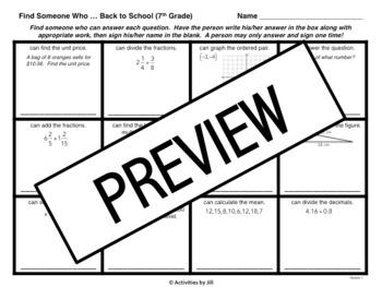 Find Someone Who: 7th Grade Math Version