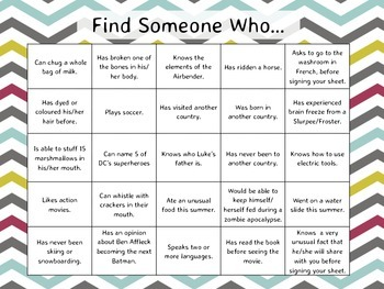 Find Someone Who... A Back to School Bingo Activity