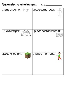 Find Someone Who Activity in Spanish