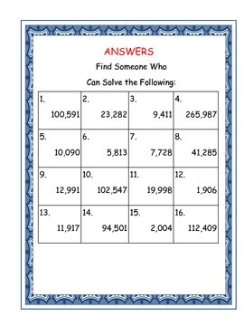 Find Someone Who:  Adding/Subtracting Whole Numbers