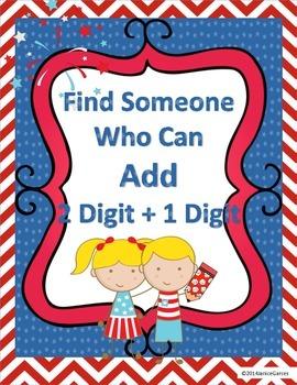 Find Someone Who Addition 2 Digit Plus 1 Digit