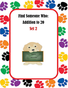 Find Someone Who: Addition to 20 Set 2
