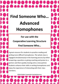 Find Someone Who: Advanced Homophones