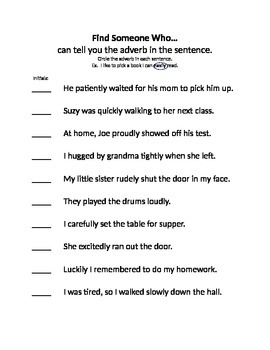 Find Someone Who Adverbs