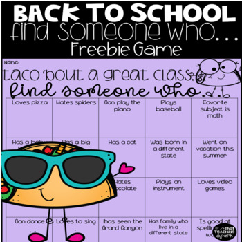 Find Someone Who Back to School Game Freebie