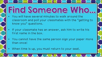 Find Someone Who... Back to School Icebreaker