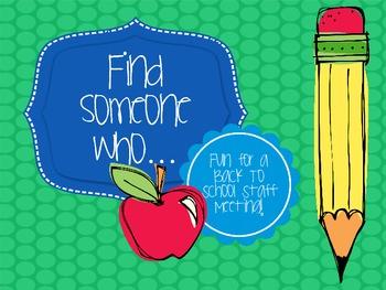 Find Someone Who... Back to School Staff Meeting Fun Freebie