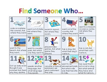 Find Someone Who... Back to School Activity