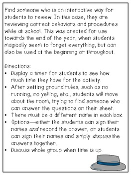 """Find Someone Who..."" Behavior and Procedures Review Activity"