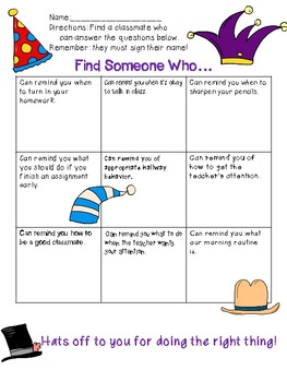 """""""Find Someone Who..."""" Behavior and Procedures Review Activity"""