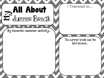 """Find Someone Who..."" Bingo Card & All About My Summer Break Poster"
