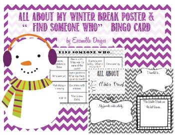 """Find Someone Who..."" Bingo Card & All About My Winter Break Poster"