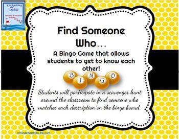 Find Someone Who... Bingo Game