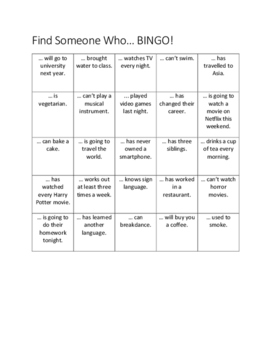 Find Someone Who Bingo | Mixed Tenses