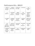 Find Someone Who Bingo | Mixed Tenses