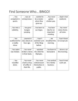 Find Someone Who Bingo | Simple Past & Present Perfect