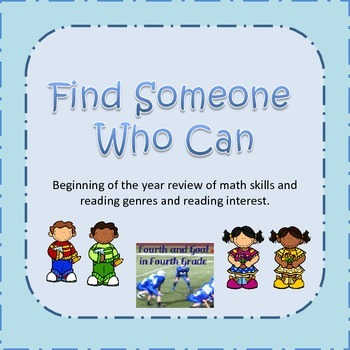 Find Someone Who Can:  Beginning of the Year Reading and M