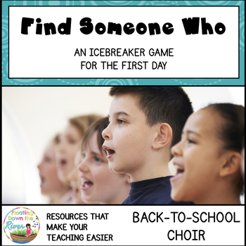 Find Someone Who Choir, Music Class Back To School Game