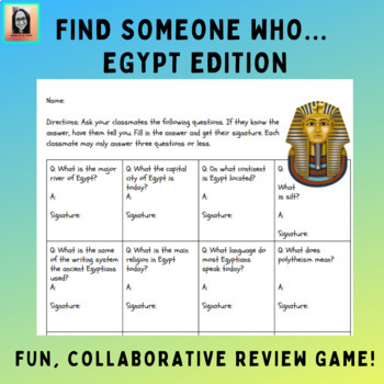 Find Someone Who... Collaborative Review Game for Ancient Egypt