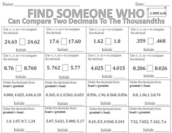 Find Someone Who - Comparing Decimals (5.NBT.A.3b)