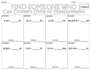 Find Someone Who - Converting Units of Measurement (5.MD.A.1)
