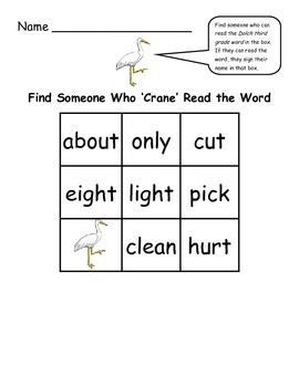Find Someone Who - Crane Theme Collaborative Game Using Dolch Third Grade Words