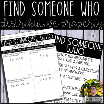 Find Someone Who (Distributive Property)