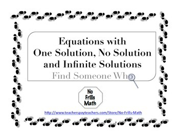 Find Someone Who -- Equations with 1 Solution, No Solution & Infinite Solutions