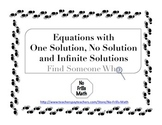 Find Someone Who -- Equations with 1 Solution, No Solution
