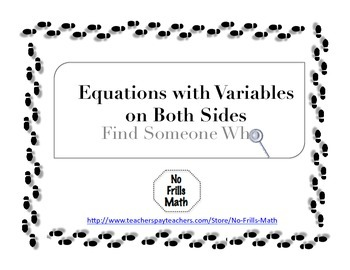Find Someone Who -- Equations with Variables on Both Sides