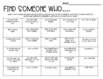 Find Someone Who-First Day of School Ice Breaker Activity