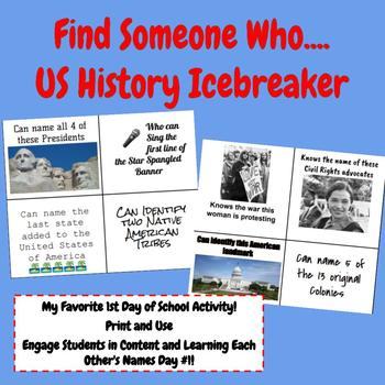 Find Someone Who: First Day of School US History Icebreaker!
