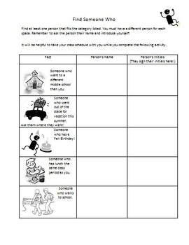 Find Someone Who: First Days Activity EDITABLE
