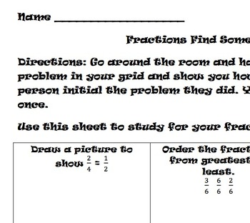 Find Someone Who- Fraction Activity