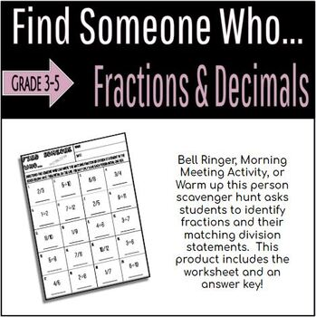 Find Someone Who... Fractions and Division Statements