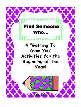 """""""Find Someone Who..."""" Getting To Know You Activity"""