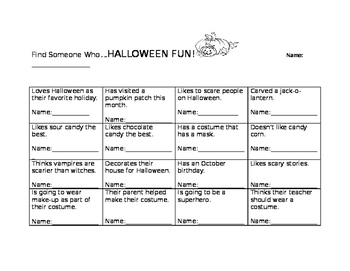 Find Someone Who - Halloween! Kagan Class builder activity