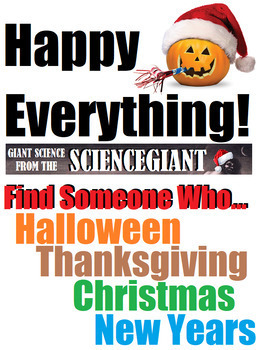 Halloween Thanksgiving Christmas Clipart.Find Someone Who Happy Everything Winter Holidays Brain Break Bundle