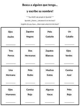 Find Someone Who Has...SPANISH!!!  **EDITABLE**
