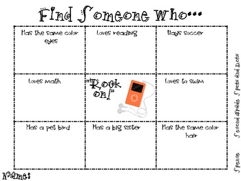Find Someone Who (I-Pod theme)