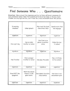 Find Someone Who... - Icebreaker Activity