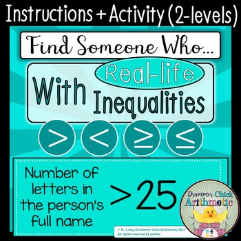 Find Someone Who - Inequalities Activity