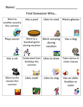 Find Someone Who Intermediate