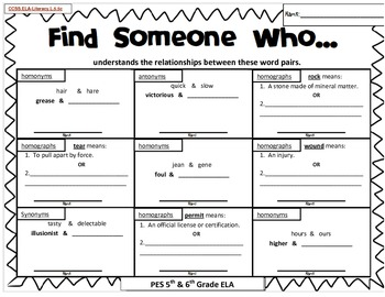 Find Someone Who: Kagan Scavenger Hunt - ELA CCSS L.5.5c by JBrown